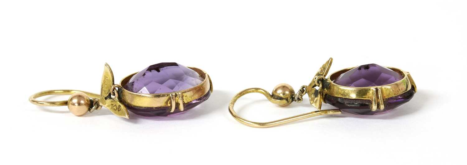 A pair of gold amethyst and split pearl drop earrings, - Image 2 of 2