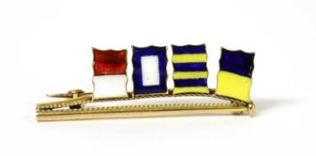A gold enamel signal flag brooch, by Benzie of Cowes,
