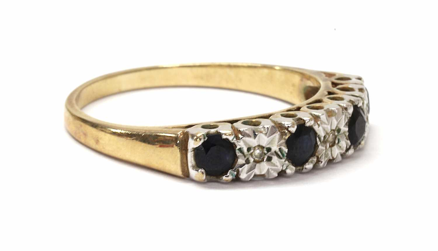 A 9ct gold sapphire and diamond half eternity ring, - Image 3 of 3