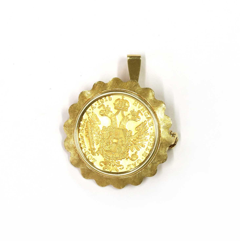 An Austrian ducat coin brooch/pendant,