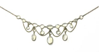 An Edwardian moonstone swag necklace,
