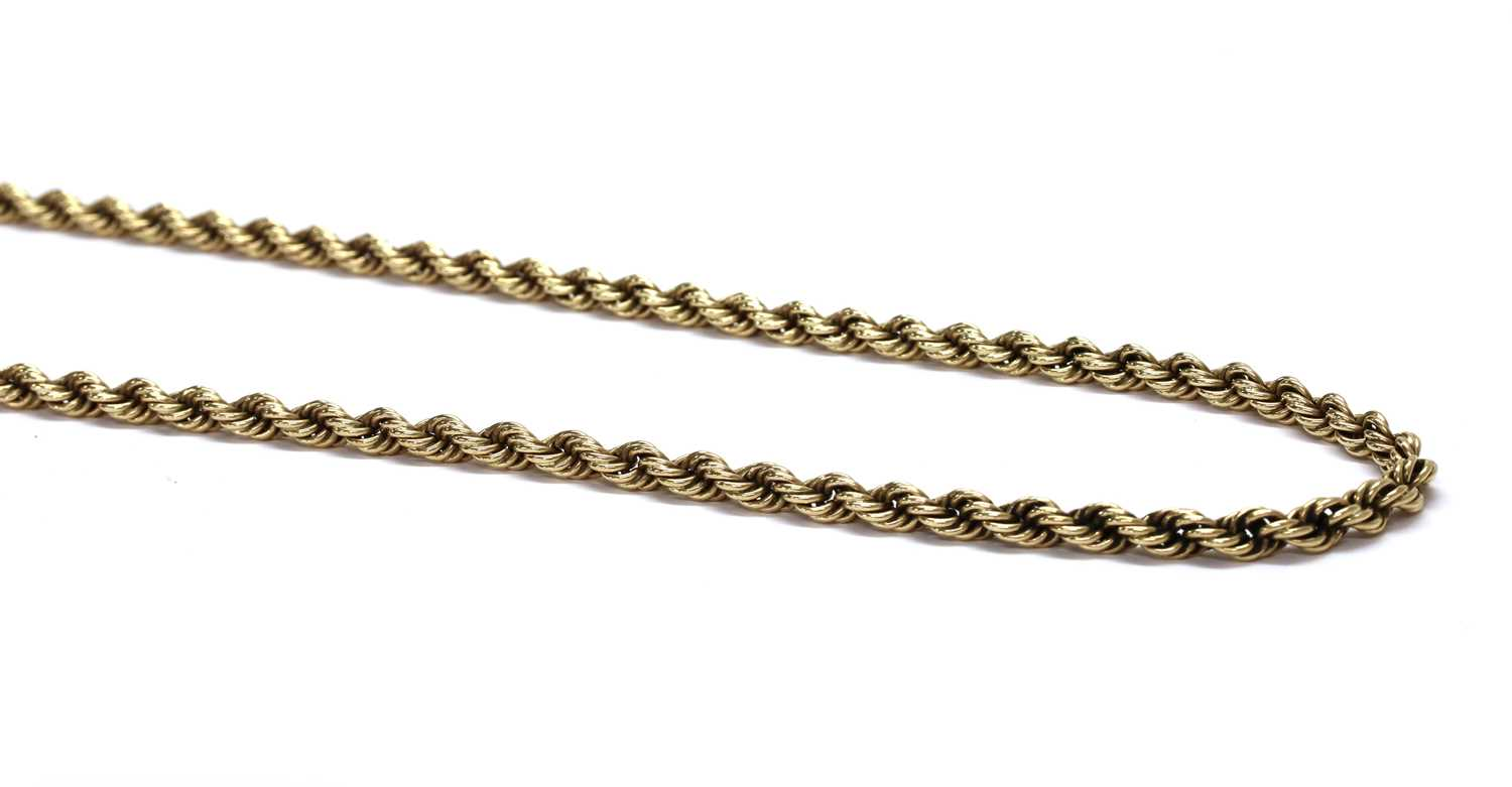 A 9ct gold rope link chain, by Cropp & Farr,