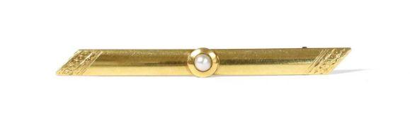 A Swedish gold pearl bar brooch,