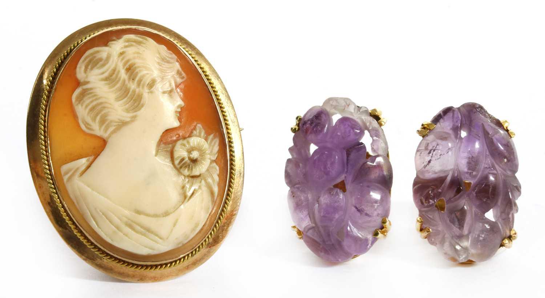 A pair of gold amethyst earrings,
