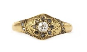 A Victorian gold diamond star cluster ring,