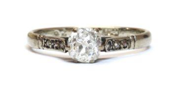 A white gold single stone diamond ring,