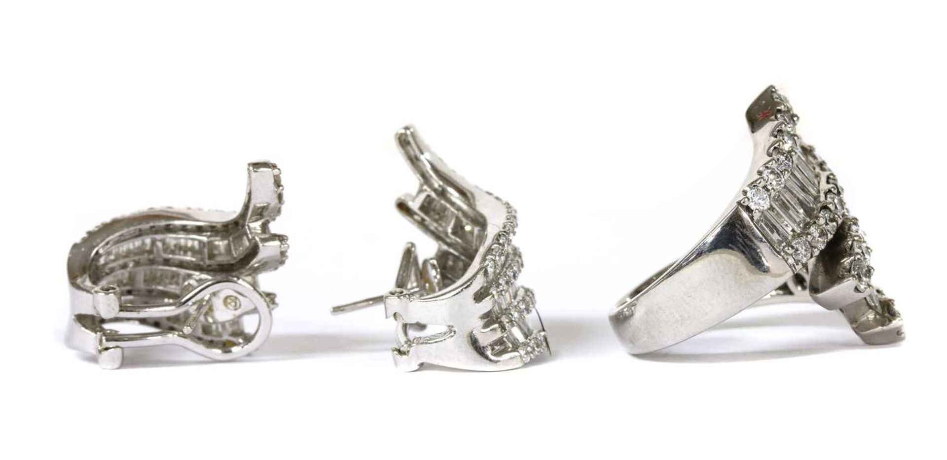A white gold baguette cut diamond ring and earrings suite, - Image 2 of 3