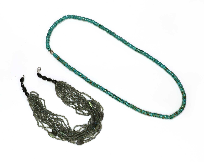 A twelve row labradorite bead necklace,