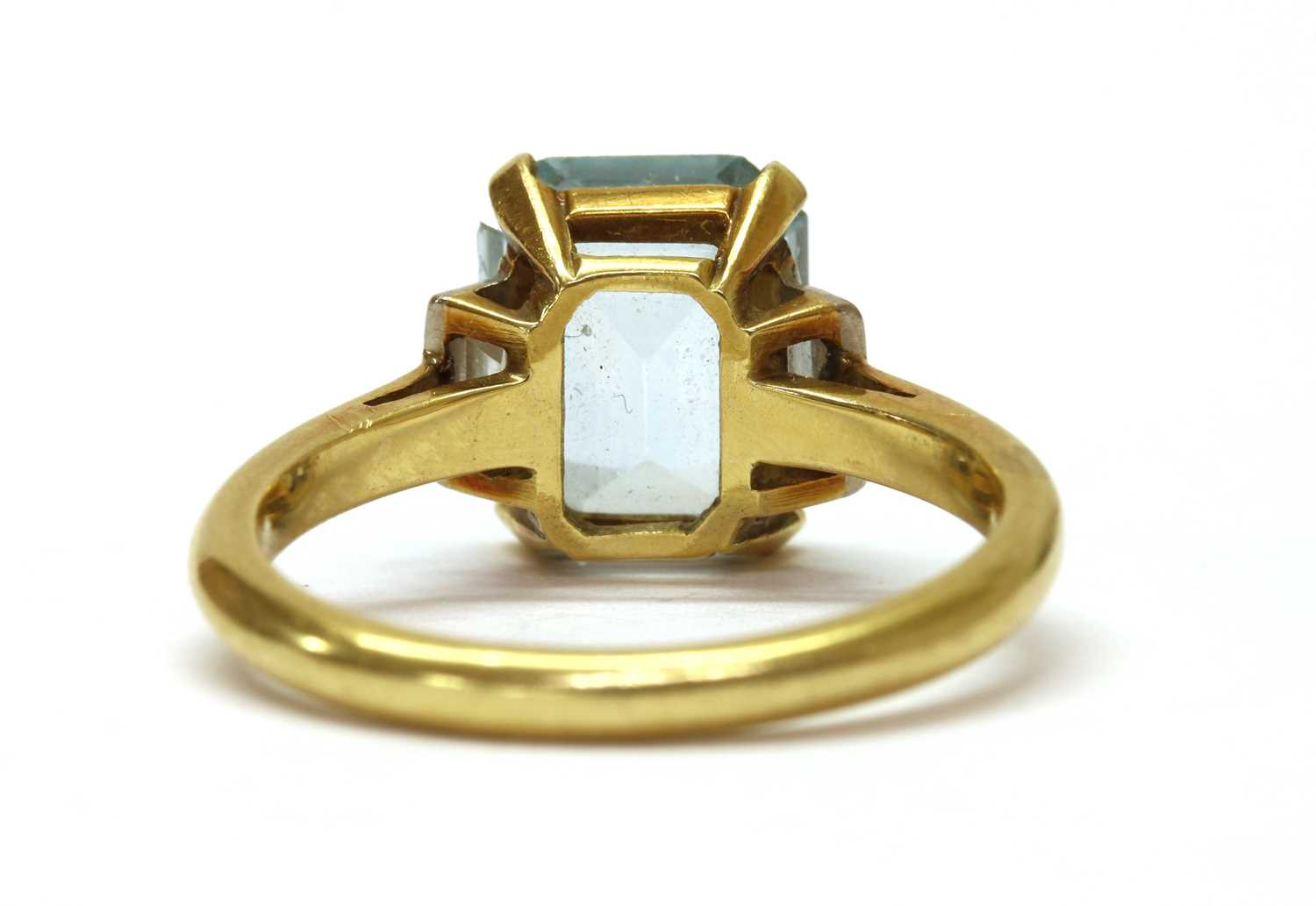 A gold blue topaz and diamond three stone ring, - Image 3 of 3