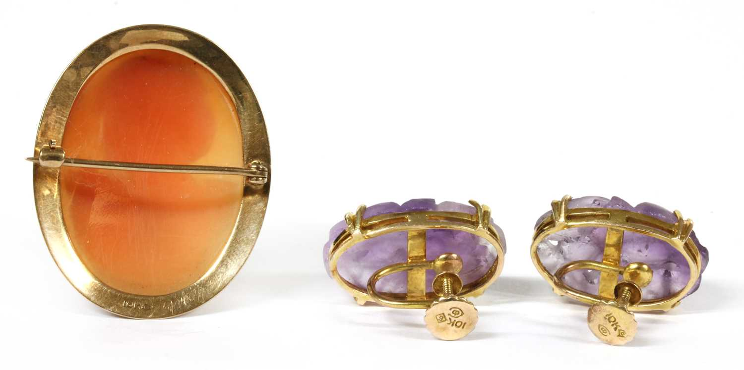 A pair of gold amethyst earrings, - Image 2 of 2