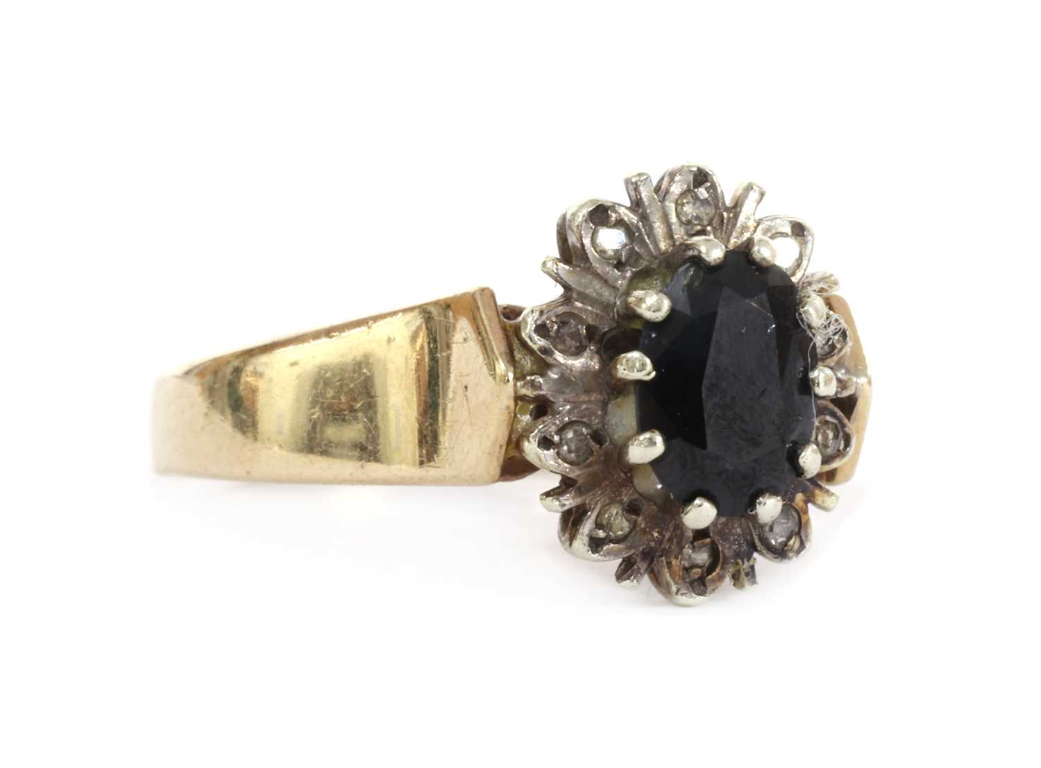 A 9ct gold sapphire and diamond cluster ring, - Image 2 of 3