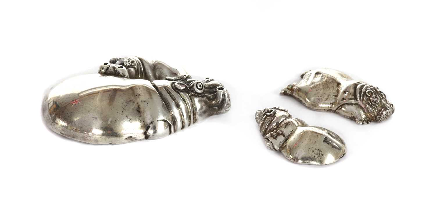 A silver sculpture of a hippopotamus and calf, by Patrick Mavros, - Image 2 of 3
