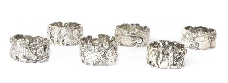 A set of six animal napkin rings, by Patrick Mavros,