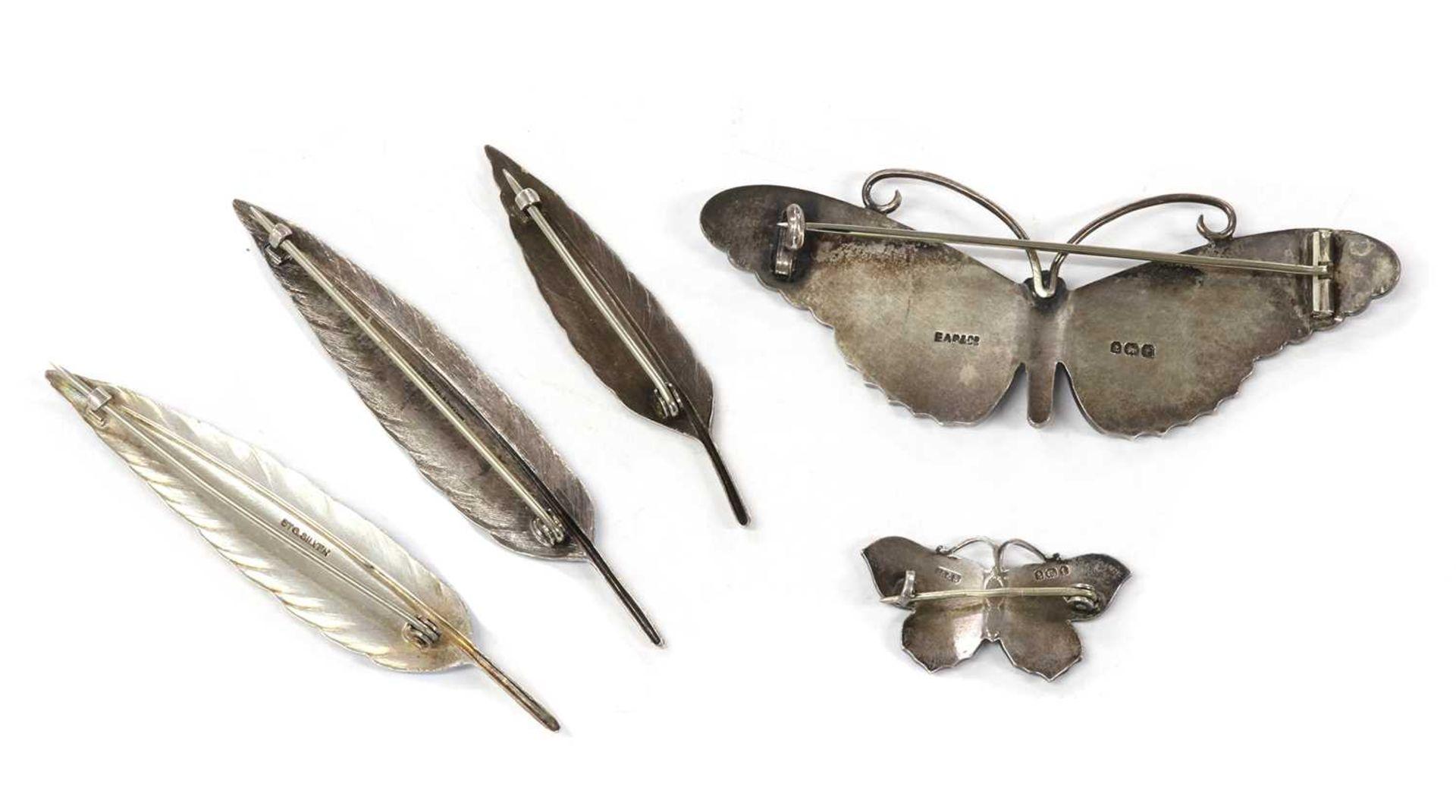 A sterling silver enamel butterfly brooch, - Image 2 of 2