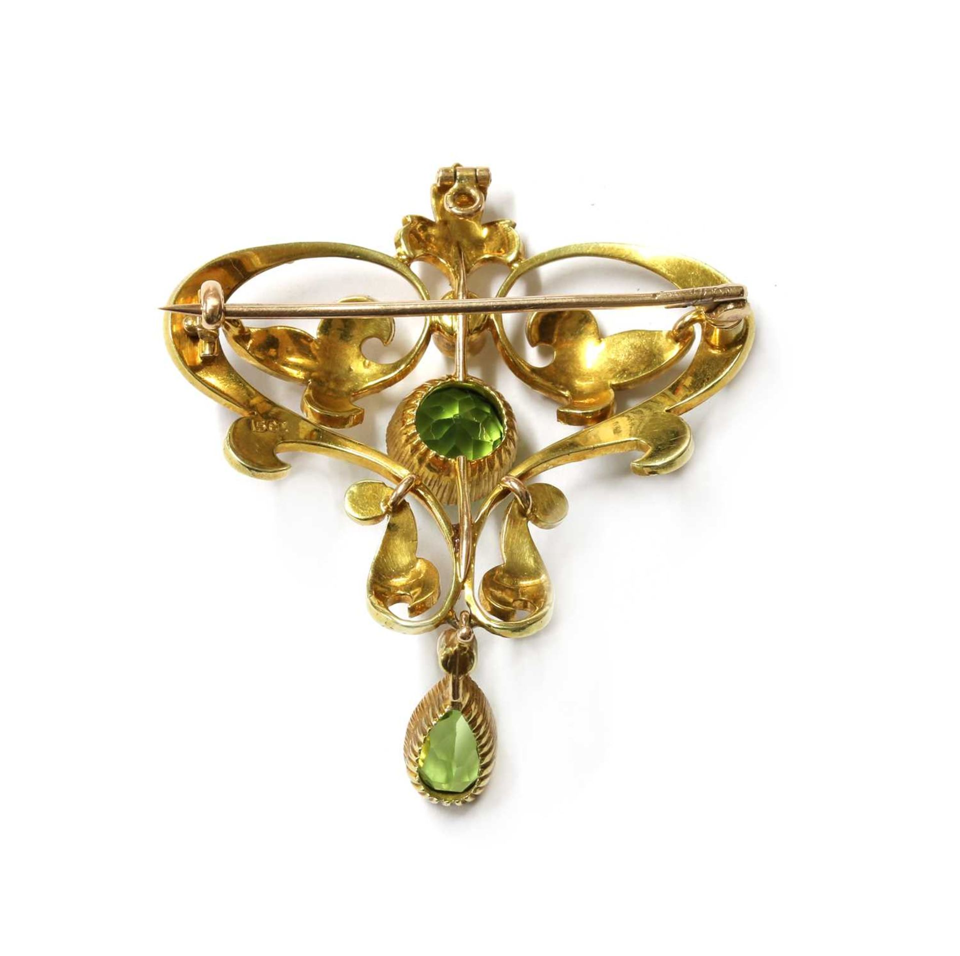 An Edwardian gold peridot and split pearl brooch/pendant, - Image 2 of 2