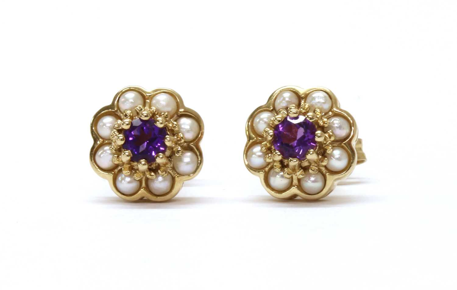A pair of 9ct gold amethyst and split pearl cluster earrings,