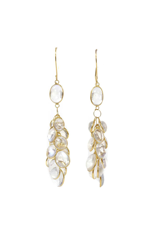 A pair of gold moonstone drop earrings,