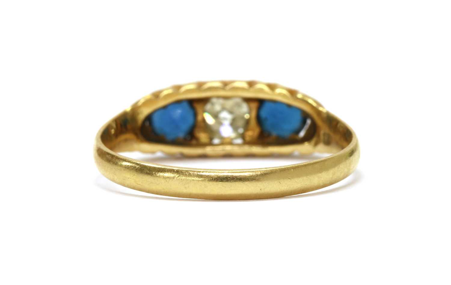 An Edwardian gold diamond and sapphire three stone ring, - Image 2 of 3