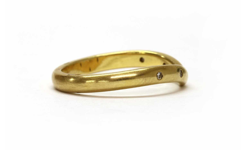 An 18ct gold diamond set wishbone ring, - Image 2 of 3