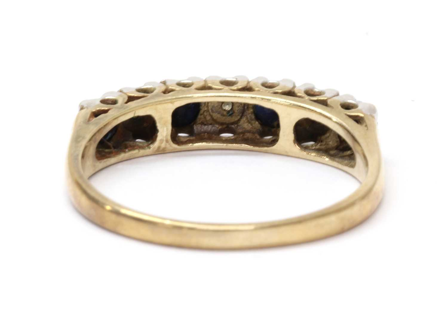 A 9ct gold sapphire and diamond half eternity ring, - Image 2 of 3