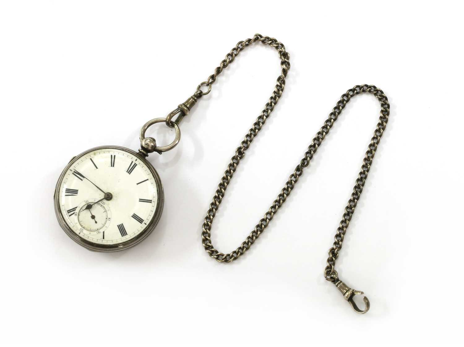 A sterling silver open-faced key wound pocket watch,