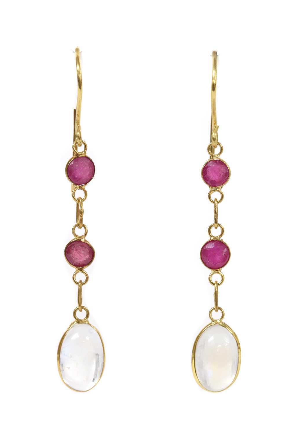 A pair of gold moonstone and ruby drop earrings,