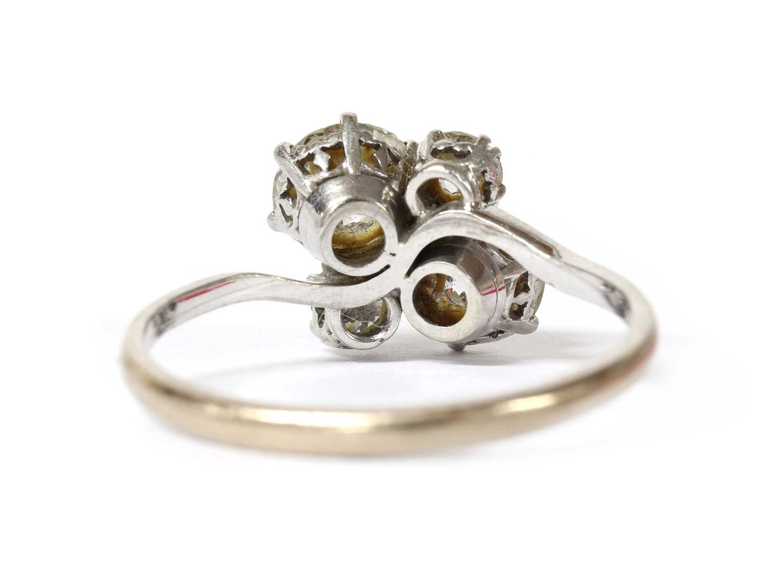 A white gold four stone diamond cluster ring, - Image 3 of 6