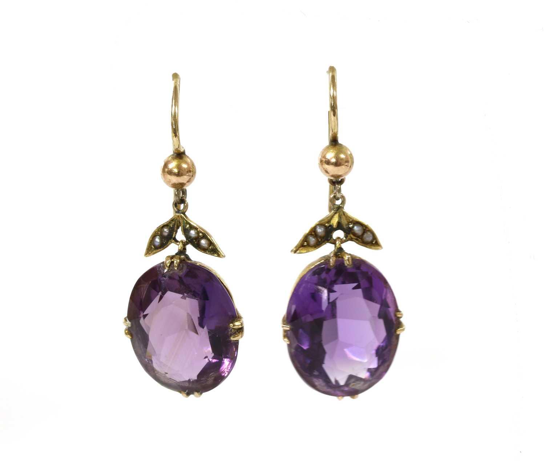 A pair of gold amethyst and split pearl drop earrings,