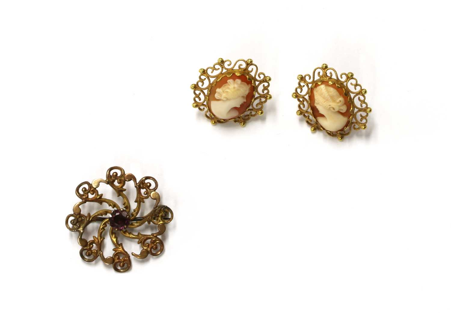 A pair of gold mounted shell cameo earrings,