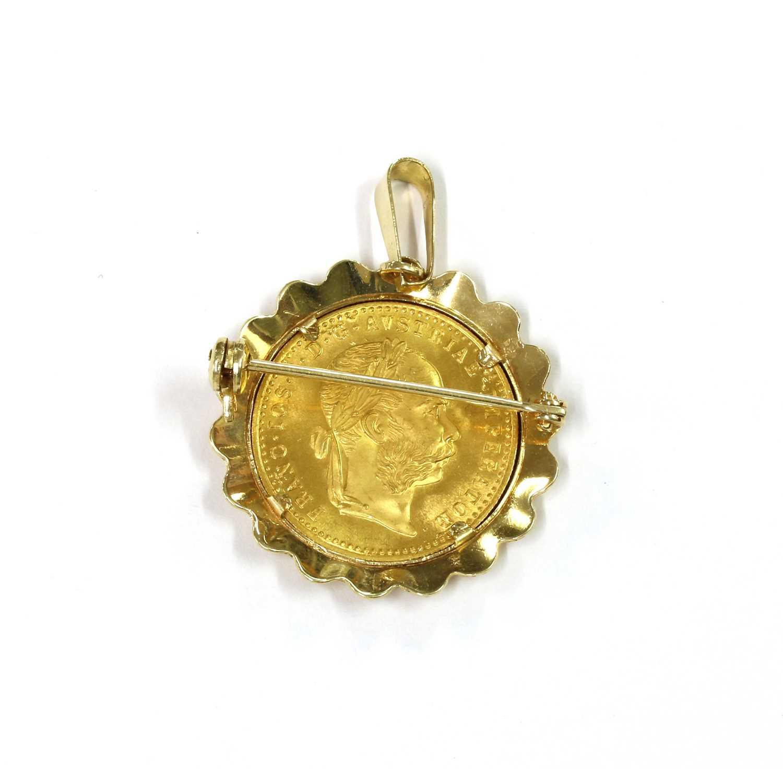 An Austrian ducat coin brooch/pendant, - Image 2 of 2