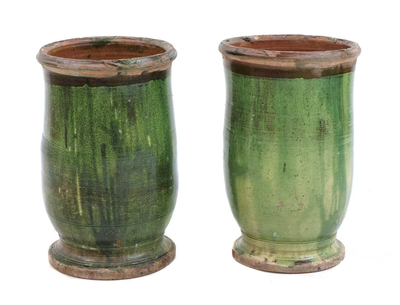 A pair of 'Poterie d'Anduze' green-glazed terracotta garden urns,