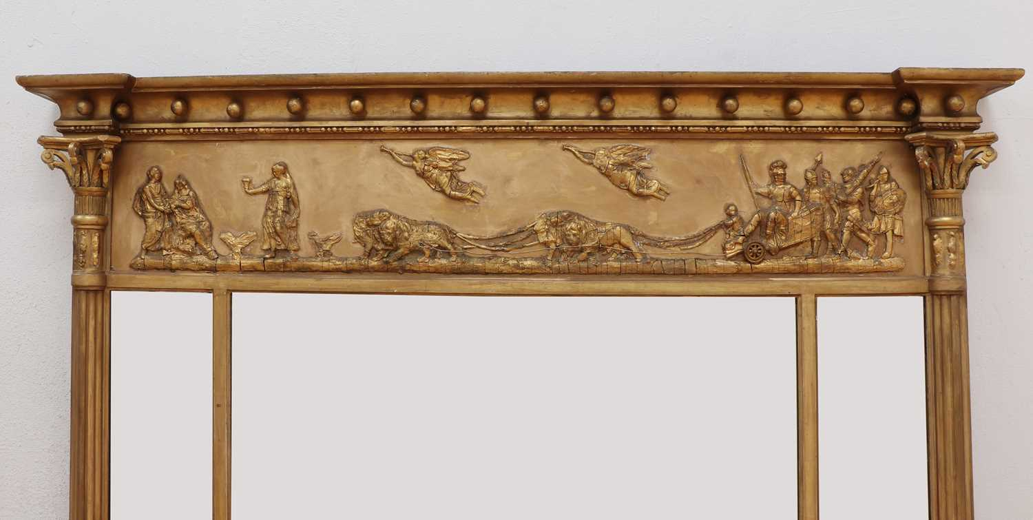 A Regency-style gilt overmantel mirror, - Image 3 of 4