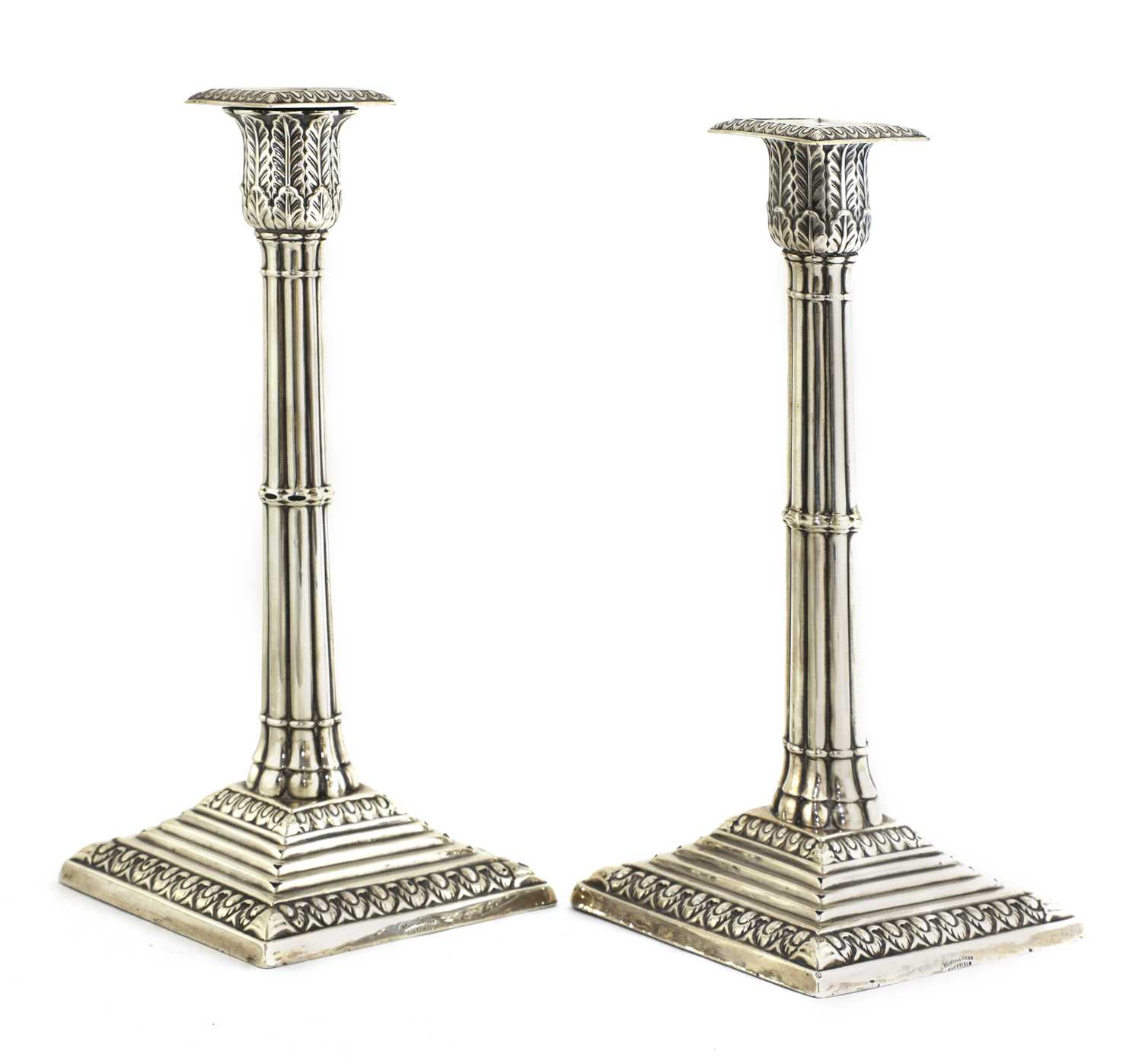 A pair of silver cluster column table candlesticks, - Image 2 of 6