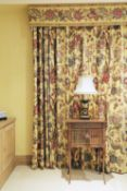 Two pairs of lined and interlined Jaipur pattern curtains,