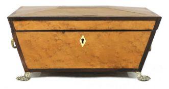 A Regency bird's-eye maple and thuya sarcophagus box,