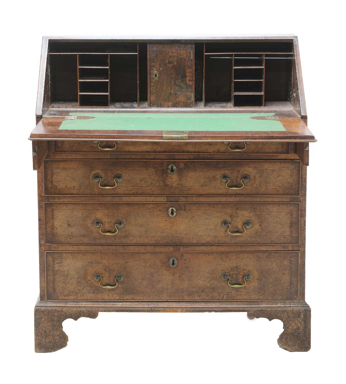 A George III mahogany bureau, - Image 3 of 4