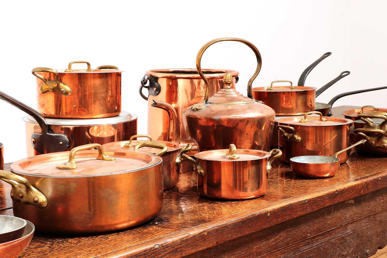 A copper batterie de cuisine, - Image 3 of 6