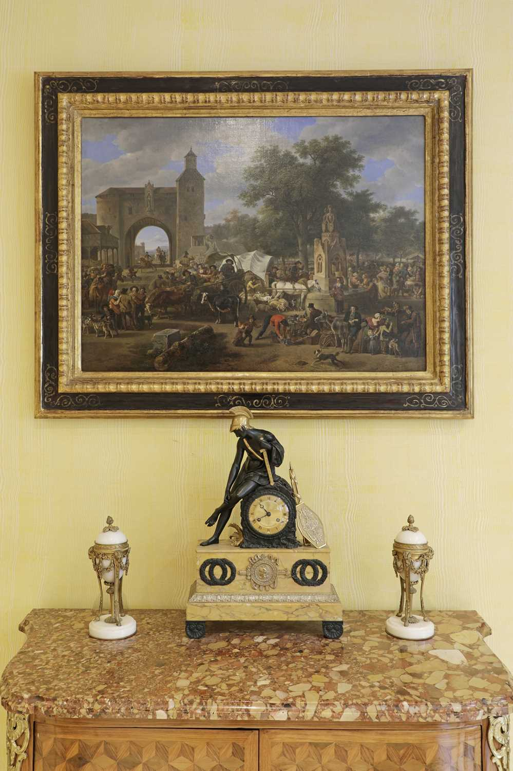 A French Empire patinated and gilt-bronze and Sienna marble mantel clock, - Image 6 of 7