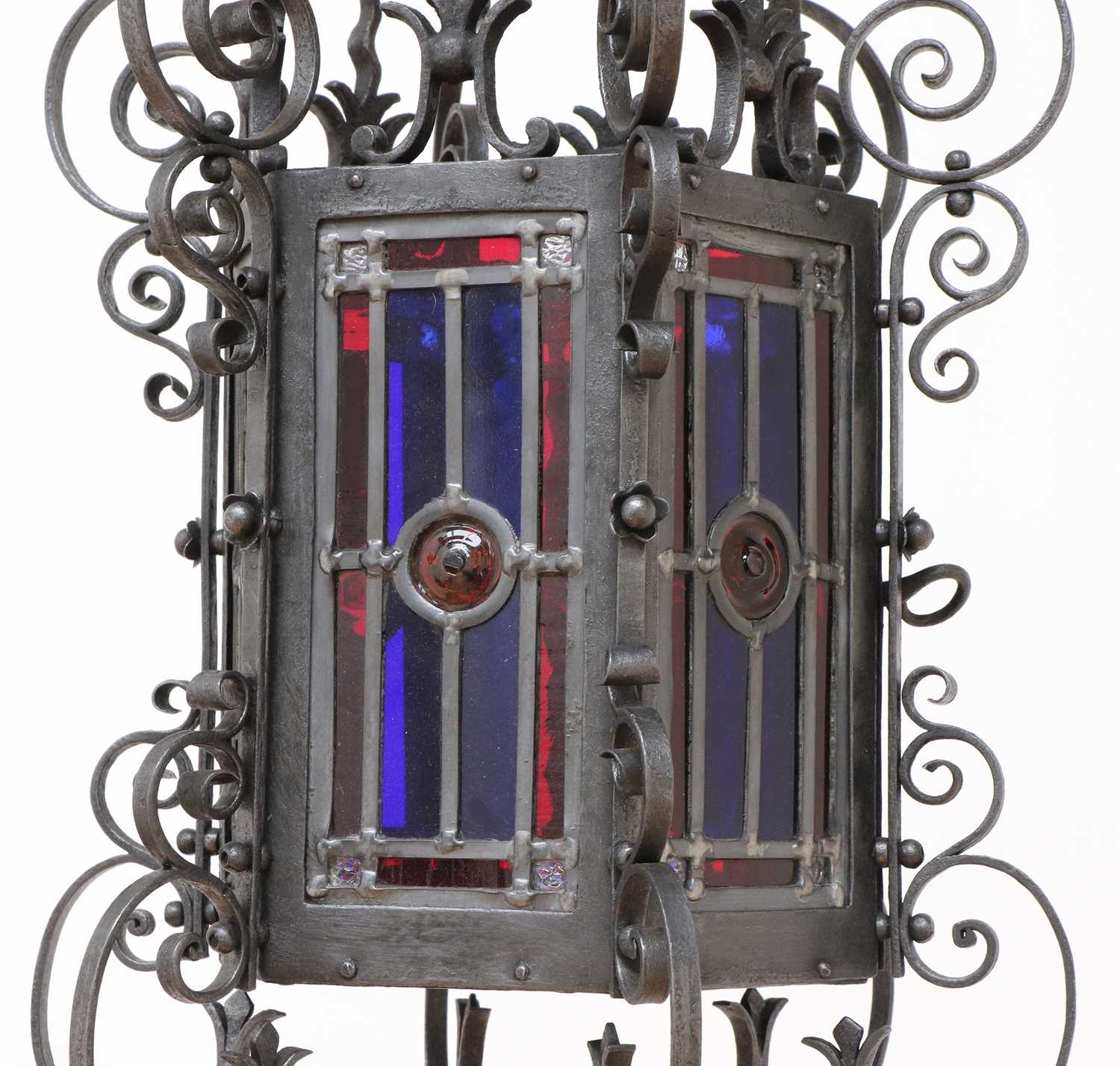 A wrought iron hall lantern in Gothic Revival style, - Image 2 of 4