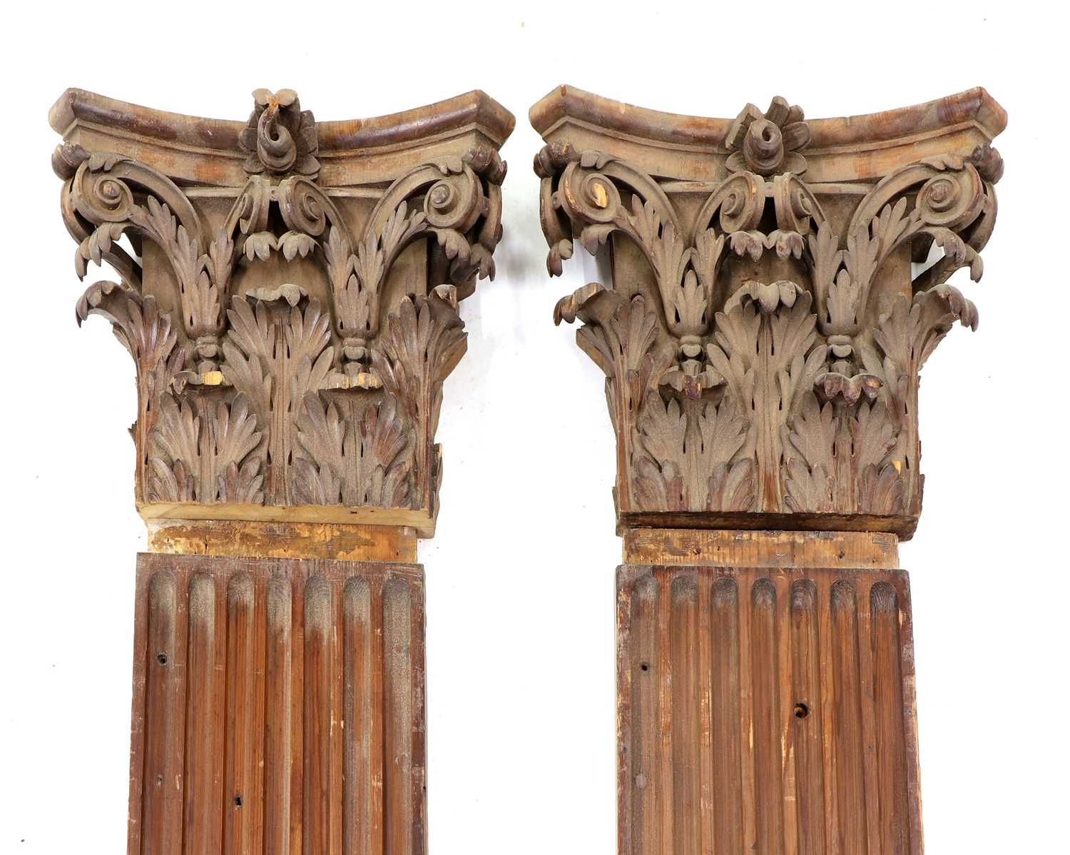 A pair of fluted pitch pine pilasters,