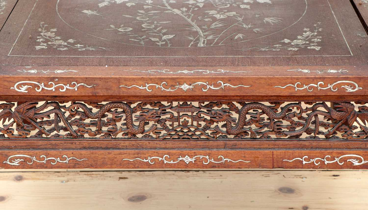 A Chinese hardwood and ivory inlaid occasional table, - Image 9 of 10