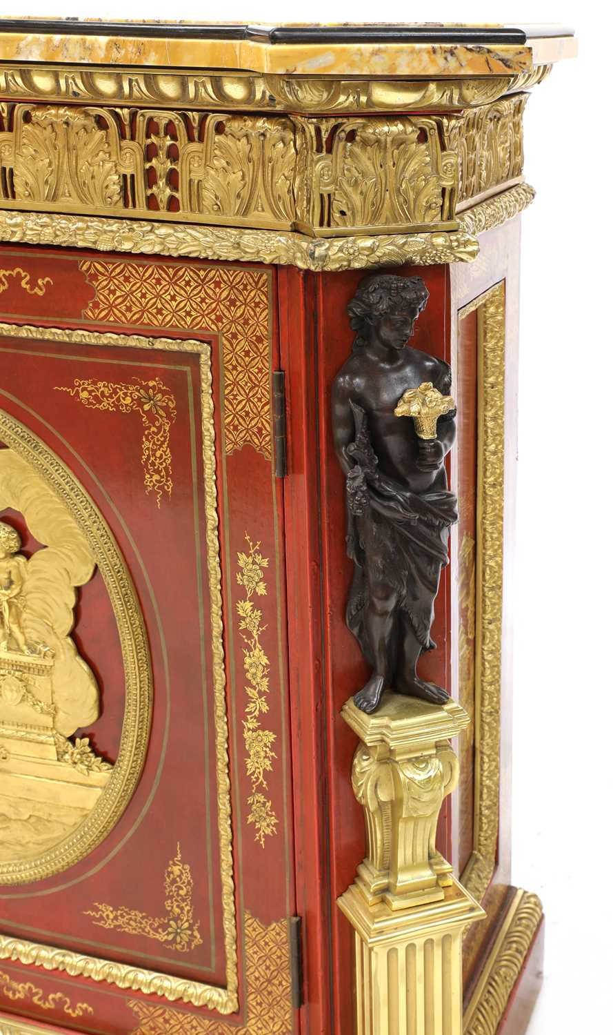 A red-lacquered and ormolu-mounted pier cabinet, - Image 4 of 16