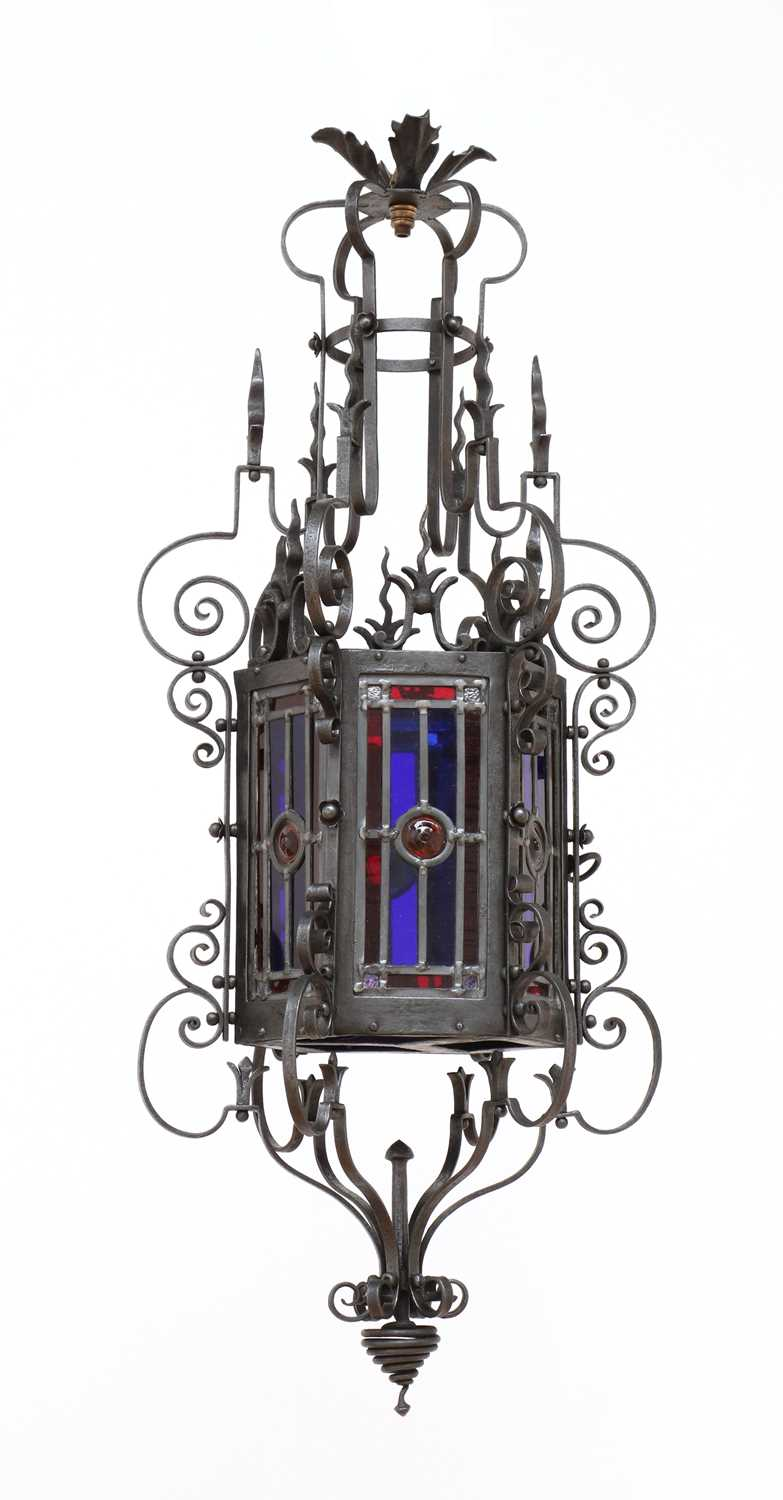 A wrought iron hall lantern in Gothic Revival style,