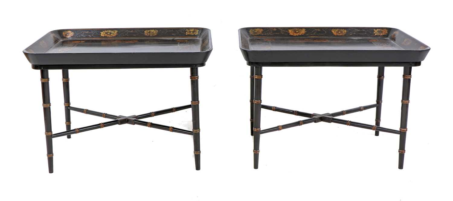 A pair of Regency-style papier mâché tray-top side tables, - Image 4 of 5