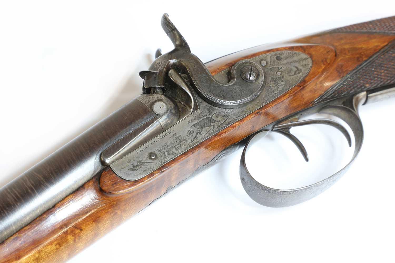 A 12-bore double-barrelled percussion shotgun, - Image 4 of 7