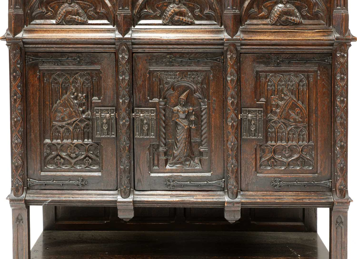 A Gothic-style oak cupboard, - Image 5 of 6