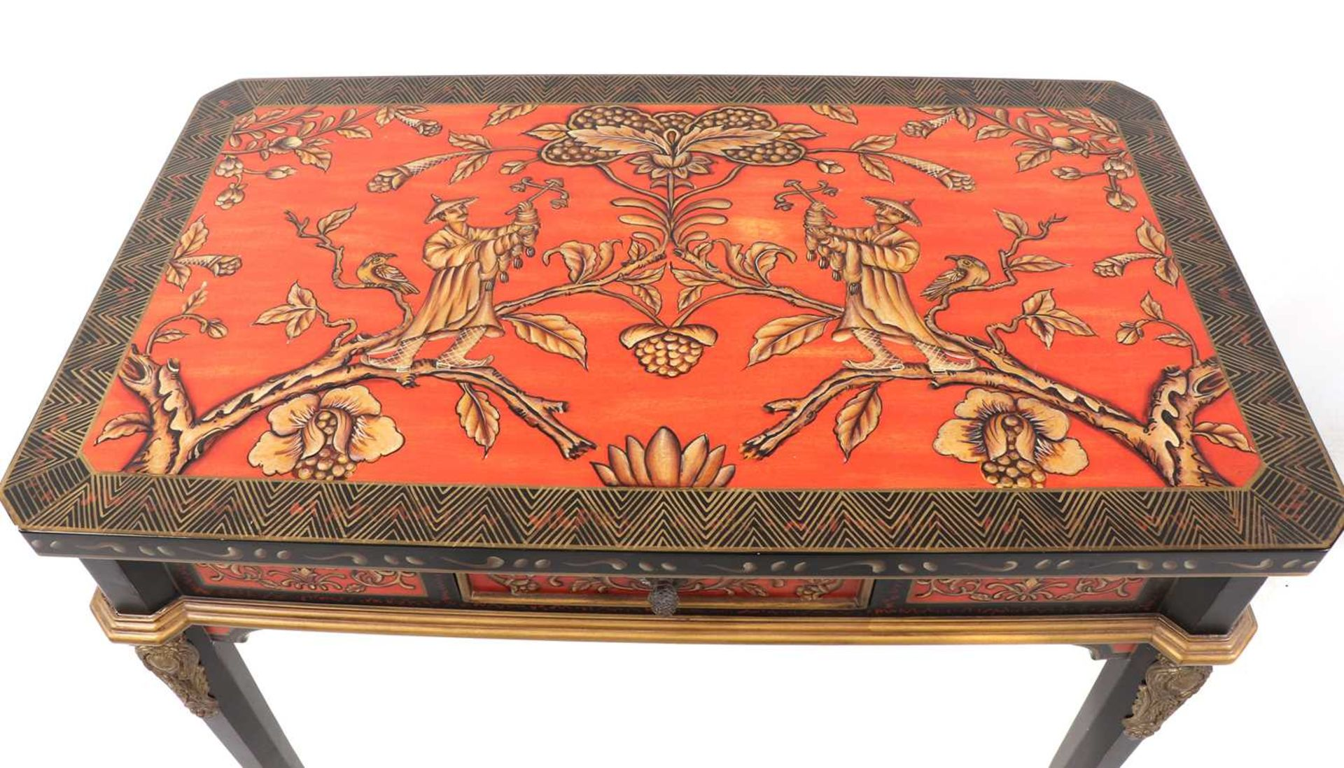 A pair of Napoleon III-style lacquered chinoiserie side tables, - Image 6 of 10