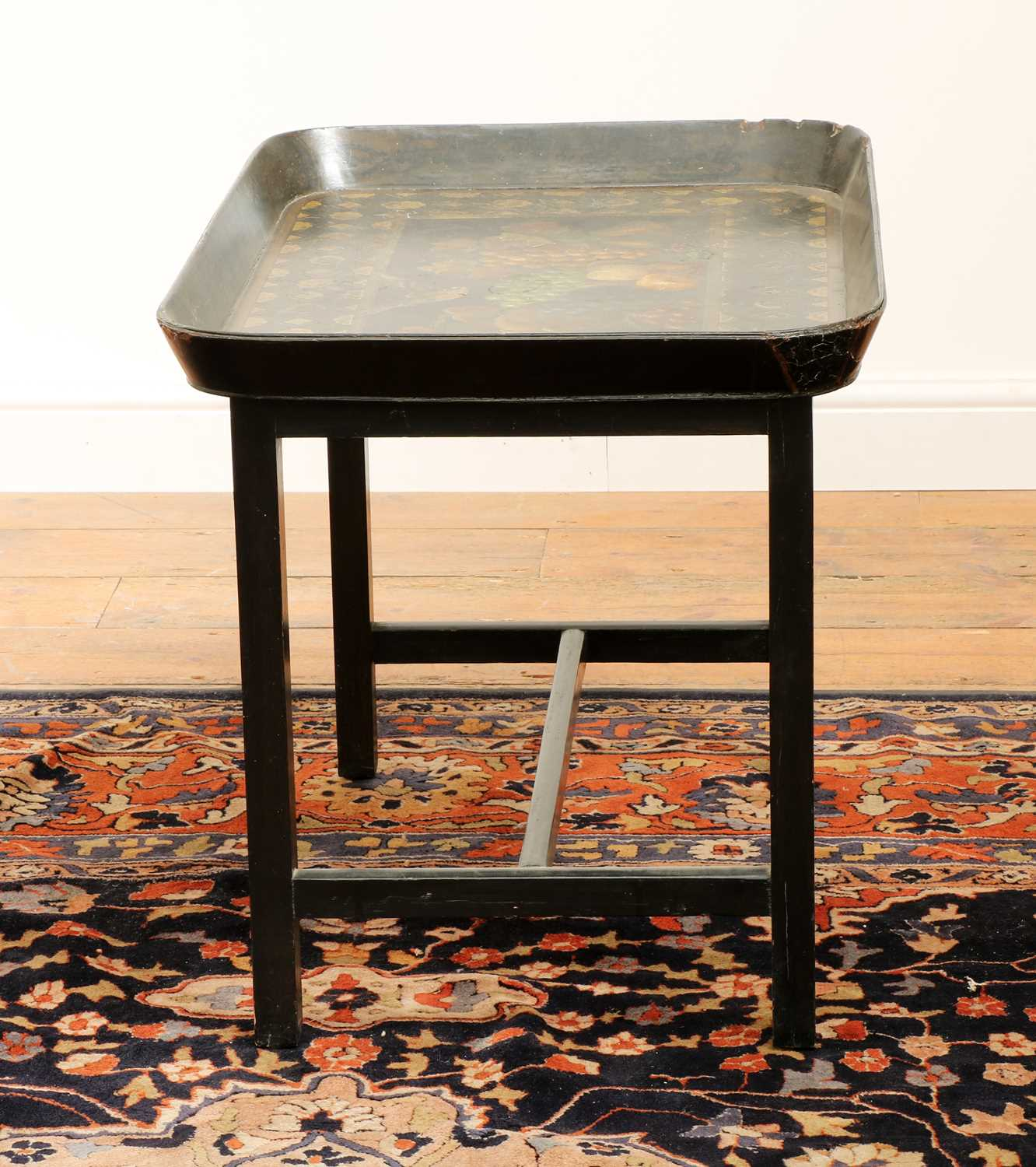 A Regency black lacquer galleried tray on stand, - Image 4 of 5