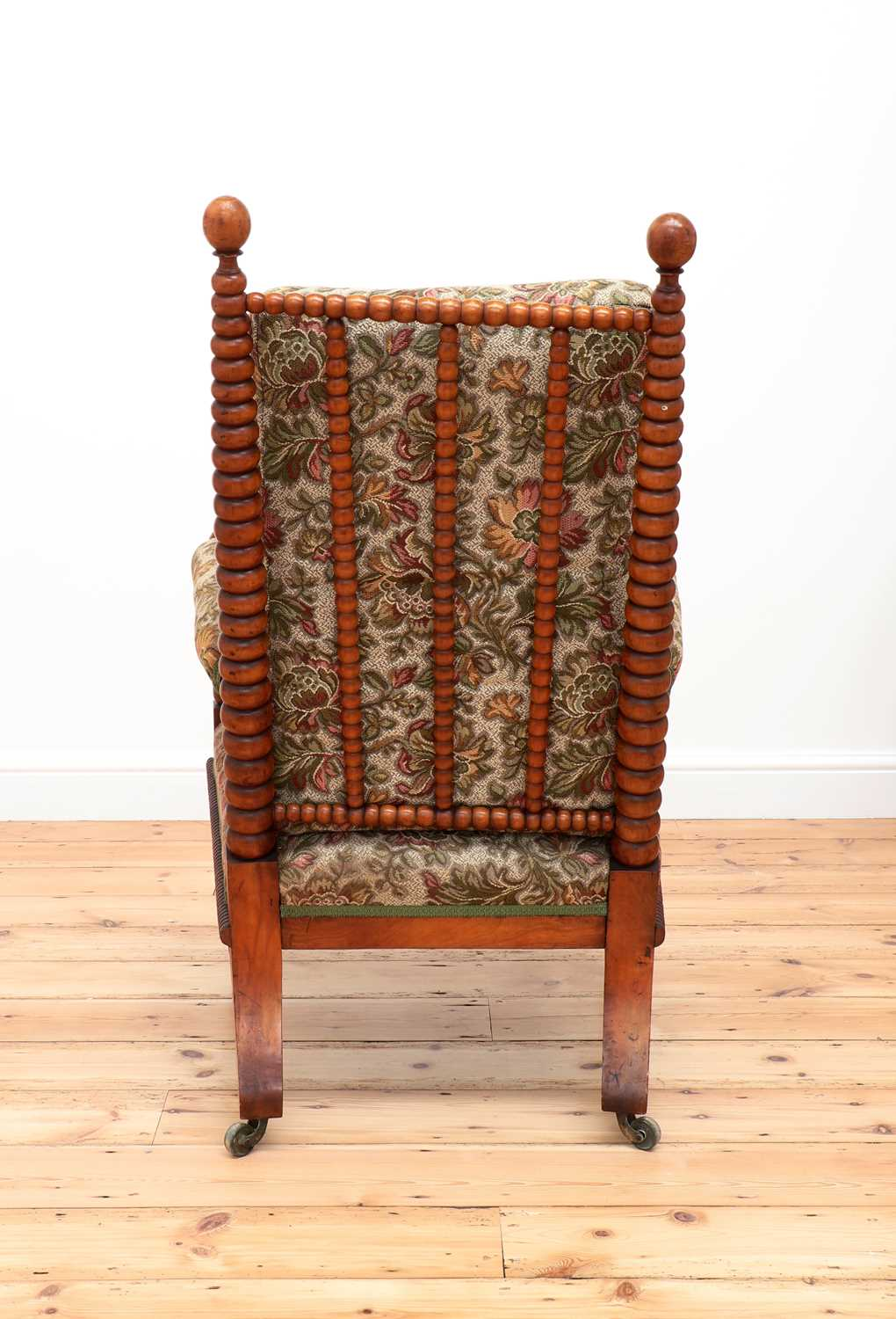 A Victorian fruitwood bobbin-turned library armchair, - Image 5 of 5