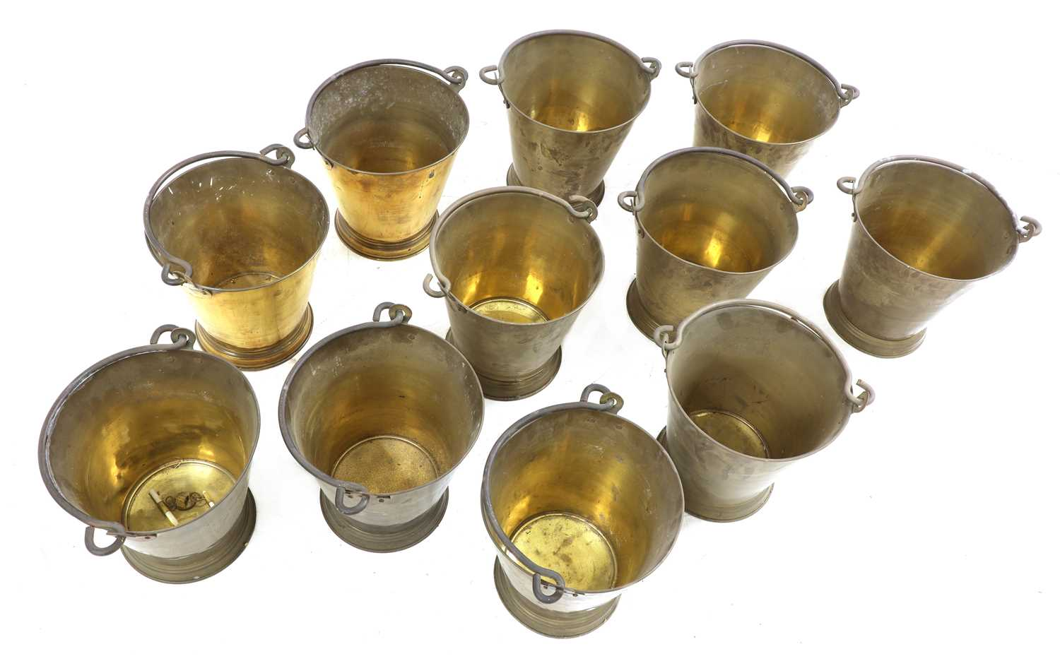A set of eleven brass buckets, - Image 2 of 2